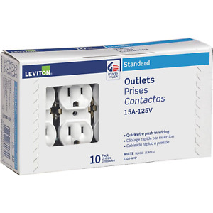 Leviton 15 Amp Residential Grade Grounding Duplex Outlet White 10-Pack Shallow