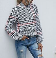 Houndstooth Print Shirred Frill Stand Collar Long Sleeve Elegant Blouse Top