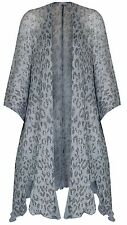Sharanel sheer knit short sleeve animal print cardigan jacket