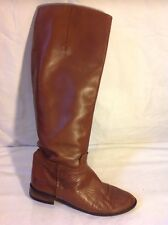 Zara Woman Brown Knee High Leather Boots Size 40