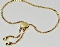 9ct Yellow Gold on Silver Adjustable Slider Bracelet