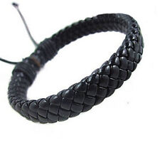 Leather Bracelet Bangle Cuff Rope Black Surfer Wrap Adjustable Men,Women Hot