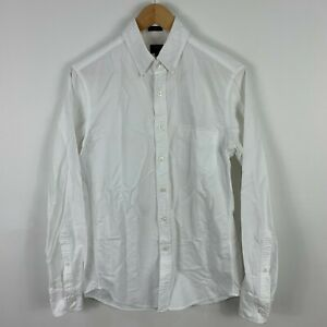 J Crew Mens Button Up Shirt Small White Long Sleeve Collared Slim Fit