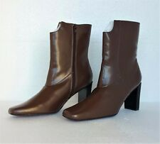 Suzanne Somers New Womens Ankle Boots Brown Faux Leather Wedge Heels 8.5 M