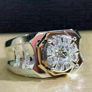 Glamorous Men's Engagement Expensive Ring 14K White Gold 2.79Ct Round Diamond