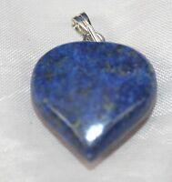 Blue Lapis Lazuli Crystal Gemstone Heart Pendant Reiki Blessed Silver Plated New