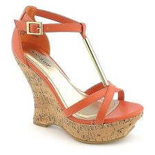 c53518d54aa Colorful Strappy Open Toe Cork Flip Flop Platform Wedges HEELS Sandals Size  W3 Coral 6.5