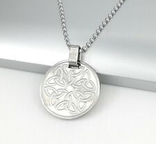 "Silver Irish Celtic Round Trinity Knot Pendant 24"" 61cm Mens Ball Chain Necklace"