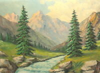Antique impressionist oil painting mountain river landscape