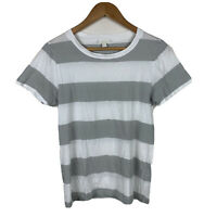 Cos Womens Top Size Small (AU 8) White Grey Stripe Short Sleeve Good Condition