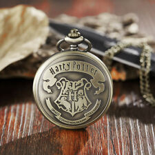 Vintage Harry Potter Hogwarts Pocket Watch Necklace Cute Fob Chain For Boy Gifts