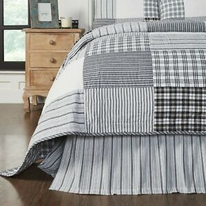 VHC Sawyer Mill Black Ticking Stripe Country Farmhouse Bed Skirt