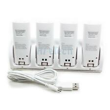 4 Charger Dock Station + 4x Rechargeable Battery for WII Remote Controller White