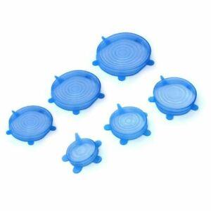 6PCS Set Stretch Silicone Food Bowl Cover Storage Wraps Seals Reusable Lids Blue