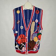 BELLEPOIINTE Sports Equipment Theme Baseball Football Basketball Sweater Vest XL