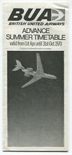 BRITISH UNITED AIRWAYS BUA ADVANCE TIMETABLE SUMMER 1970 VC10