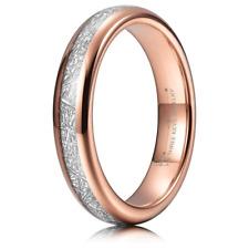 THREE KEYS JEWELRY 4mm Tungsten Wedding Ring Imitated Meteorite Inlay Rose Gold