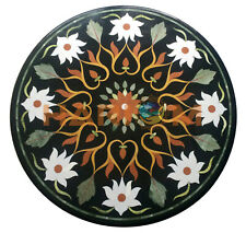 "24"" Round Black Marble Side Coffee Table Top White Floral Inlay Patio Decor B687"