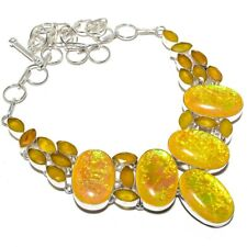"""Triplet Fire Opal, Yellow Sapphire 925 Sterling Silver Necklace 18"""""""