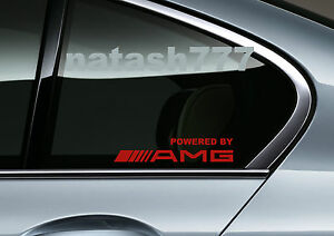 Powered by AMG Mercedes Benz Sport Racing Window Decal sticker emblem RED Pair