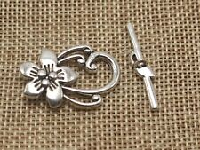 20 Sets Tibet Silver Tone Flower Toggle Clasps 20X30mm Bracelet Making