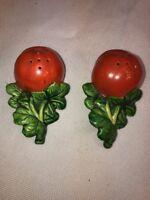 Vtg 50's Mid-Century Japan Pottery Tomato Vegetable Salt & Pepper Cork Stoppers