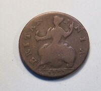 1737 Great Britain 1/2 Penny Coin King George II UK Seated Half Cent GB English
