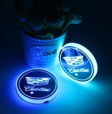 2x Car LED Cup Holder Light Pad Mat Coaster 7 Colors for Cadillac 68mm Diameter