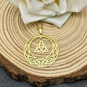 Gold Stainless Steel Triquetra Celtic Knot Wicca Pendant On Gold Plated Necklace
