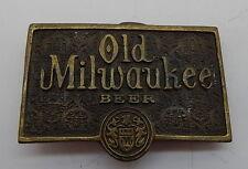 Original Vintage Old Milwaukee Beer Solid Brass High End Belt Buckle RARE R11595