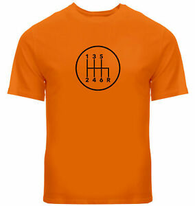 Manual Transmission Shift Pattern 6 Speed Stick Cotton T-Shirt Size XL Orange