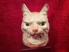 Extreamly Rare Antique French Majolica Cat Head w Pink Bow Humidor 1800's, fm908