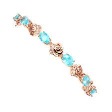 925 Sterling Silber Armband* Roségold beschichtet* 7x5 mm. Neon Blau Apatit* Neu