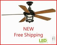Progress Lighting Smyrna Collection 52 in. LED Antique Bronze Ceiling Fan