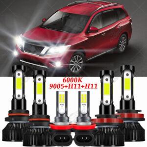 For Nissan Pathfinder 2013 2014 2015 2016 6x LED Headlight + Fog Light Kit 6000K