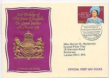 CAYMAN ISLANDS F.D.C.4/8/1980; SG506 QUEEN MOTHER 80 BIRTHDAY.