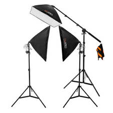 Three-Head 50x70cm Softbox Continuous Lighting Kit Boom (3x105W) CFL Light