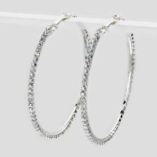 Clear diamante Hoop earrings sparkly rhinestone party prom clubbing 0346-SCL-L