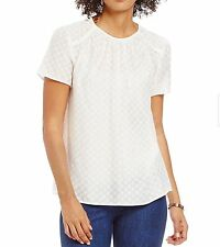 NWT MICHAEL Michael Kors Clipped Dot Jacquard Short Sleeve Top Size Small Ecru