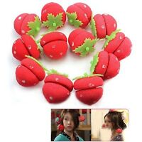 12x Girl Portable Strawberry Balls Hair Care DIY Soft Sponge Rollers Curlers -LJ