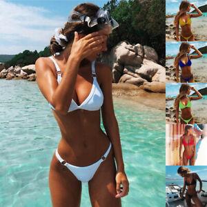 Women Summer Swimwear Beachwear V Neck Bikini Set Bikini Sexy Fashion Solid