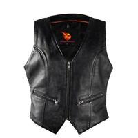 Women's Motorcycle Biker Cow hide Leather Waistcoat With Gun Pockets Zip Front