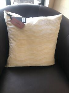 "New MISSONI Home Linen Blend Iconic Wave Pillow (20"" x20"")  yellow/ White Italy"