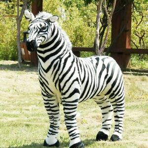 Large Plush Toy Black And White Strip Zebra Stuffed Doll Horse Kid Carnival Gift