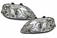 99-00 Honda Civic EK EM1 JDM Chrome Headlights SI EX LX DX HX Amber Reflector