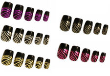 12 KleanColor SUREFIRE Stripes Press-On Pre-glued Metallic Holo Nails MED LONG