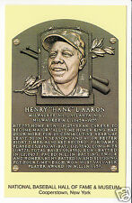 HANK AARON Atlanta Braves BASEBALL HALL OF FAME -HOF- PLAQUE POSTCARD