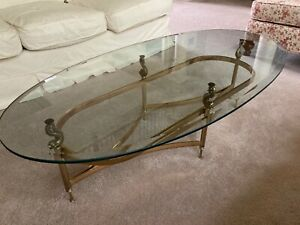 labarge coffee table. Beautiful brass bass with glass top. Rare koi fish finial