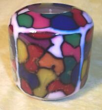 PILLAR HANDMADE GLOW IN DARK BRIGHT MULTI-COLOR+WHITE TRIM DESIGN CANDLE+BOX-#74