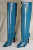 EMANUEL UNGARO MADE IN ITALY WOMEN HIGH HEEL BLUE LEATHER  BOOTS EU 38 US 7.5